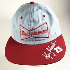 adf88f6cb9e Size  Adjustable. Only 1 left! Vtg Budweiser Mens Denim Hat Nascar Snapback  90 s A23