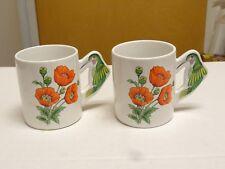 2 BEAUTIFUL Hummingbird Coffee Mug 3D Handle AWESOME POPPY 12 Oz Cup PMC