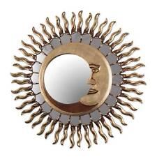Wall Mirror Round Sun Moon Eclipse Theme Wood Bronze Leaf 'Cuzco Eclipse' NOVICA
