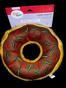Zippy Paws Brown Yellow Donut Plush No Stuffing Dog Toy W2