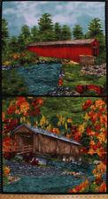"""24.5"""" X 44"""" Panel Covered Bridges Nature Landscape Cotton Fabric Panel D364.14"""