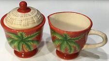 Cream and sugar set Tropical Palm Tree Red