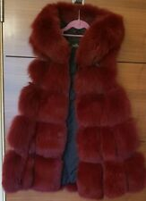 REAL FOX FUR BURGENDY GILET WITH HOOD IN SIZE SMALL