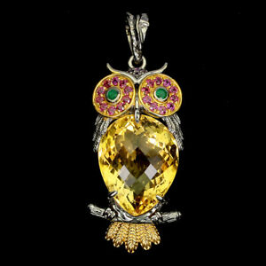 Handmade 24 Ct Citrine Amethyst Emerald Gems 925 Silver Owl Pendant Special Item