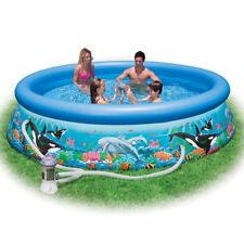Piscina Gonfiabile Rotonda Family Pesci dell Oceano Easy Intex con Pompa 305cm