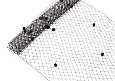 "1 Yard x 10"" Black Dot Russian Millinery Birdcage Veil Netting"