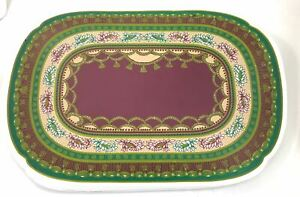 """6 Christmas Maroon Green Regal Design Vinyl Placemats Oval Rounded  18"""" X 12"""""""