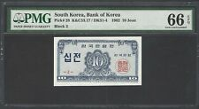 South Korea 10 Jeon 1962 P28 Block 2 Uncirculated Grade 66