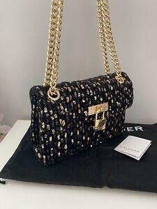 Kurt Geiger Mini Brixton Lock Gold Sequin Crossbody Shoulder Bag NEW Black