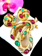 CROWN TRIFARI RUBY GRIPOIX CABOCHON MOGHUL INDIA COILED SNAKE BROOCH EARRING SET