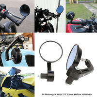 "Black 7/8"" Bar End Mirrors Round 3"" For Triumph Thunderbird Thruxton Speed TT"