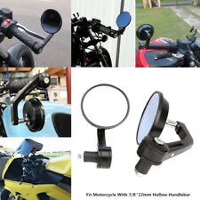 Black round Motorcycle Reversible Handle Grip Bar End Rearview Side Mirror 7/8''