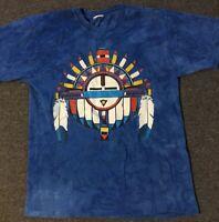 Vtg 90s Tie Dye Native American Shirt L USA Single Stitch Indian Tribal Feathers