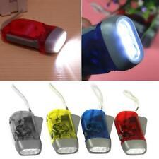 Hiking Powered Dynamo Light Crank Blue LED Flashlight Torch Hand Pressing New