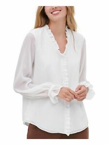 TOMMY HILFIGER Womens White Ruffled Long Sleeve V Neck Blouse Size: M