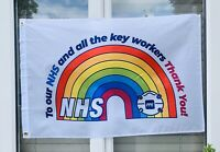 Thank You NHS RAINBOW FLAG House Flag 3FT X 2FT - SUPPLY PPE NHS Charity