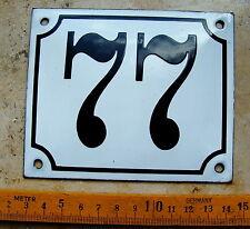 Vieux EMAIL Numéro Maison-Nº 77 Blanc