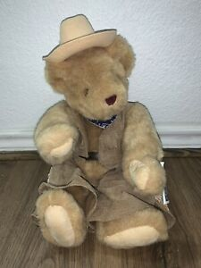 """THE VERMONT TEDDY BEAR CO Vintage 1992 Beige Cowboy Bear Jointed 15"""" Plush NWT"""