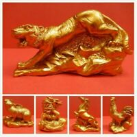 Gold Chinese Resin Zodiac Animals Statue Sculpture Home Decoration Feng Shui