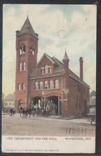 Postcard Woodstock Ont/Canada Horse Drawn Fire Dept Station w/Hose Tower 1907