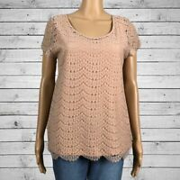 Ann Taylor Lace Overlay Blouse Shirt Top MEDIUM Pinky Beige Scoop Neck