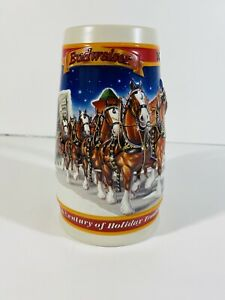 Budweiser 1999 Christmas Beer Stein Century Holiday Tradition Man Cave Bar