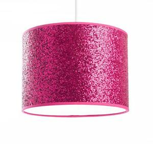 Glitter Cylinder Ceiling Lamp Shade Rose Red