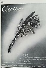 1944 Cartier diamonds and rubies floral flower spray pin brooch jewelry ad
