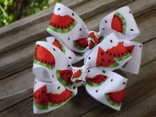 """Hair Bows a pair of Medium 2"""" Red, Green and black Watermelon grosgrain USA"""