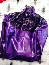 R1070 Westward Bound PEARLSHEEN PURPLE Lace Latex Rubber Rose Dress 8 UK SECONDS