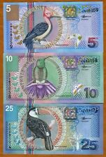 SET Suriname / Surinam, 5;10;25 Gulden, 2000, P-146;147;148 UNC > Birds, Flowers