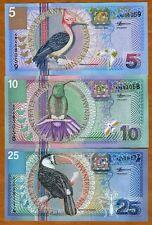 SET Suriname / Surinam, 5;10;25 Gulden, 2000, P-146;147;148 UNC > Birds, Flowers