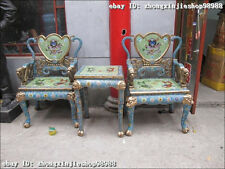 Huge Chinese Royal Dynasty 100% Pure Bronze cloisonne Dragon tablet chair Set