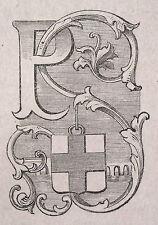 1871:Parma,MINIATURA STEMMA ARALDICO CITTA da Cento Citta, Ariodante Manfredi.