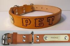 Tan Leather Small Dog Collar Personalized Pet Name & Brass Plate Tag