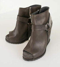 New BRUNELLO CUCINELLI Brown Leather Wedge Booties Boots Shoes 37.5/7.5 $2115