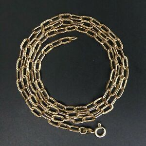 VINTAGE 9 CT GOLD TEXTURED LINK 52 CM CHAIN LINK NECKLACE LOND. 1973-9.3 GRAMS