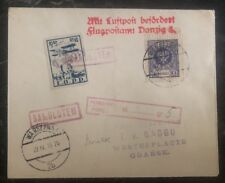 1925 Warsaw Poland Airmail Cover to Gdańsk LOPP Airmail Stamps Lotnicza