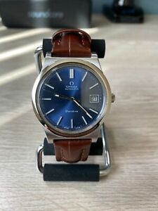Omega Geneve Date Blue Dial Stainless Steel Automatic Mens Wrist Watch
