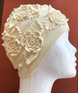 Vintage Latex Adult Swim Cap Textured Flowers Roses Ivory Color