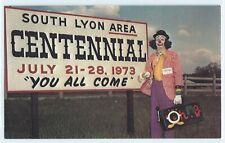 1973 South Lyon Centennial sign clown, vintage postcard, Oakland County Michigan