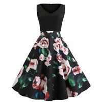 Women Retro 50s 60s Floral Evening Party Rockabilly Sleeveless Pinup Swing Dress