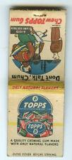 Vintage 1950s Matchcover TOPPS Chewing BUBBLE GUM Matchbook Cover