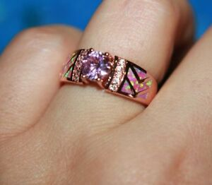 fire opal Cz Amethyst ring gems jewelry 7 6.2 8.5 rose gold filled petite band