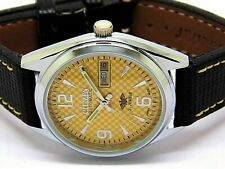 citizen automatic mens steel yellow dial vintage day/date mechanical japan watch