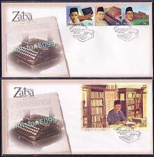 2002 Malaysia Famous Scholar Zaba, 3v Stamps + Za'ba Miniature Sheet MS on 2 FDC