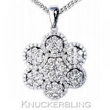 1.50ct Diamond Pendant Round Brilliant Cut F VS 18ct White Gold Flower Design