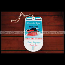 PAQUEBOT SS FRANCE ETIQUETTE BAGAGE LUGGAGE TAG CGT FRENCH LINE OCEAN LINER 1