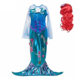 Girls Princess Ariel Cosplay Costume Little Mermaid Dress Halloween Party Gown