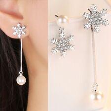 Women Silver Long Short Earring Asymmetric Snowflake Pearl Stud Earrings Jewelry